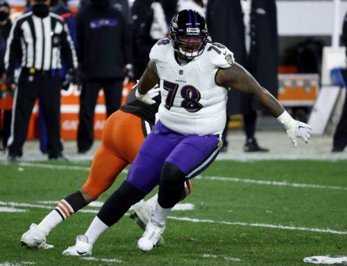 Ravens' Orlando Brown Jr. vor dem Absprung